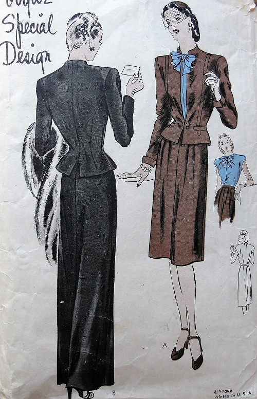 1940s LOVELY Suit and Blouse Pattern VOGUE Special Design 4582 Day or Evening Length Skirt, Nip In Waist Jacket Lovely Bow Tie Blouse Bust 32 Vontage Sewing Pattern