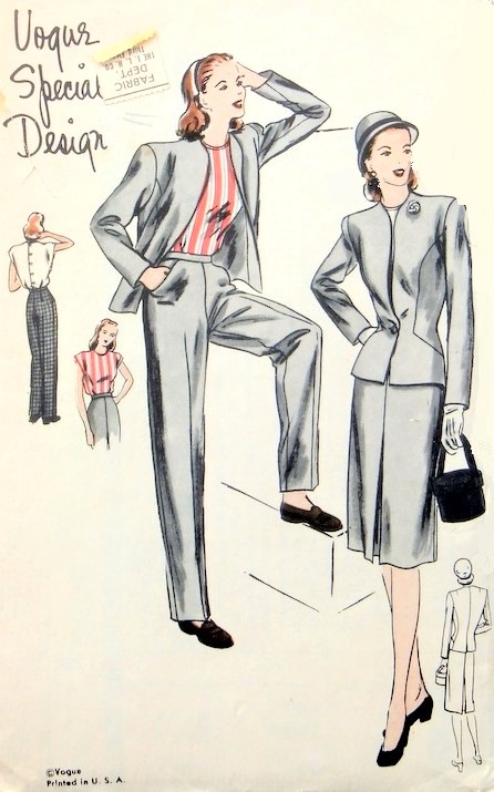 1940s KATE HEPBURN Style Suit, Pants and Blouse Pattern VOGUE Special Design 4640 High Waist Trousers,Fitted Jacket and Slim Skirt, Button Back Blouse Bust 36 Vintage Sewing Pattern