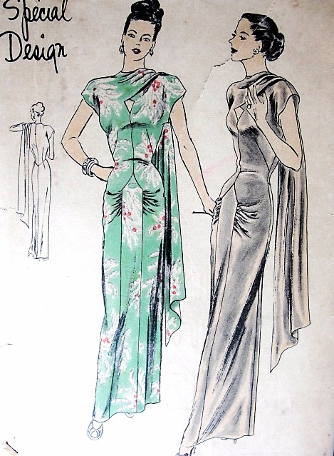 1940s GORGEOUS Evening Gown Pattern Rare VOGUE Special Design 4765 Amazing Style Pure Old Hollywood Glamour Bust 34 Vintage Sewing Pattern