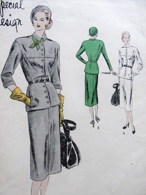 1940s Vintage STYLISH Slim Belted Suit with Insert Pockets Vogue 4787 Sewing Pattern Bust 30
