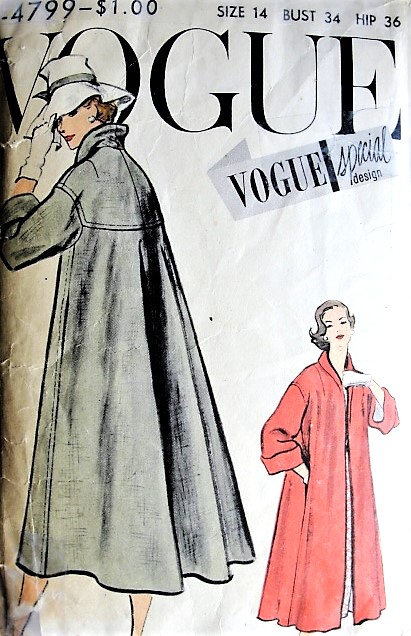 1950s ELEGANT Swing Back Coat Pattern VOGUE Special Design 4799 Lovely Wide Cuffed Coat Bust 34 Vintage Sewing Pattern