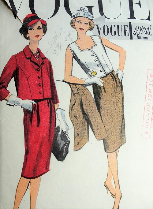 1950s STYLISH Suit and Blouse Pattern VOGUE Special Design 4923 Slim Skirt, Boxy Jacket, Lovely Blouse Bust 38 Vintage Sewing Pattern