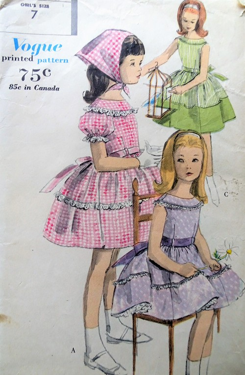 1960s LOVELY Little Girls Party Dress,Petticoat and Bandanna Pattern VOGUE 5041 Three Sweet Styles Size 7 Vintage Childrens Sewing Pattern
