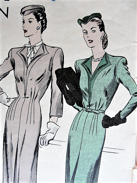 Vintage 1940 ELEGANT One Piece Suit with Dickey and Belt Vogue 5071 Sewing Pattern Bust 34