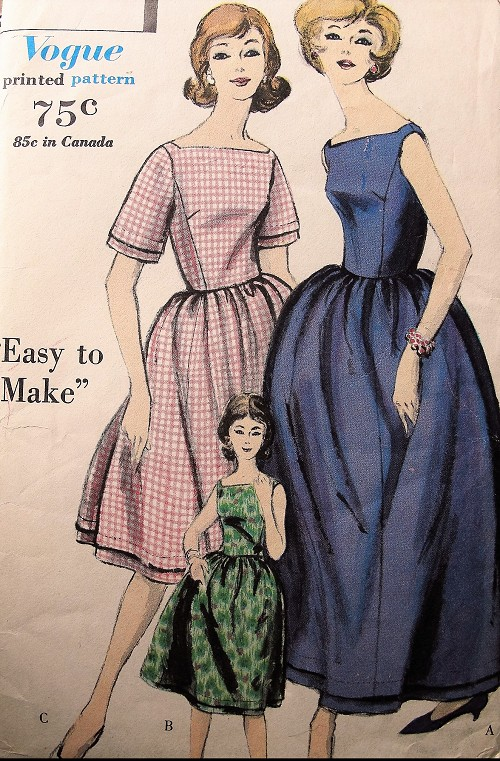 1960s Vintage ELEGANT Wrapped Back Dress with Gathered Skirt Vogue 5124 Sewing Pattern Bust 34