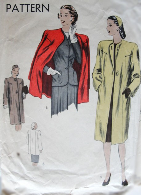 1940s VINTAGE Collarless Coat Vogue 5142 Sewing Pattern Bust 34