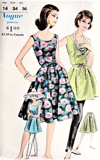 1960s FAB Flared WRAP Dress, Skirt, Tunic and Slim Cigarette Pants Pattern VOGUE 5261 Day Evening or Beach Bust 34 Vintage Sewing Pattern