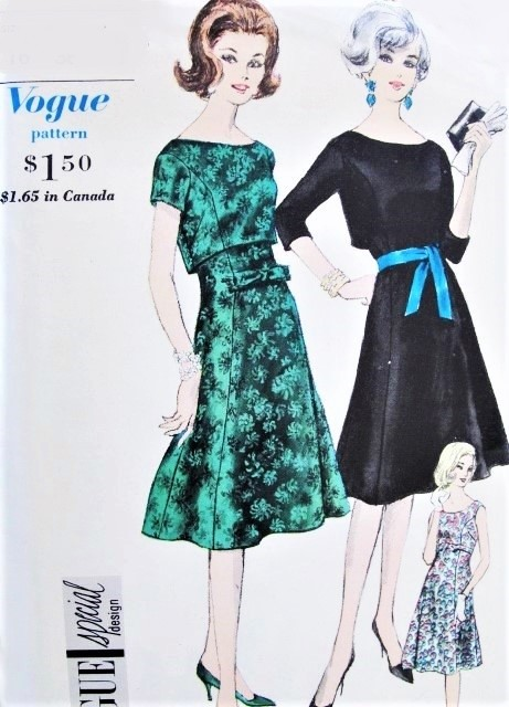 60s GLAMOROUS Evening Party Cocktail Dress and OverBlouse Pattern VOGUE Special Design 5472 Beautiful Design Bust 32 Vintage Sewing Pattern UNCUT