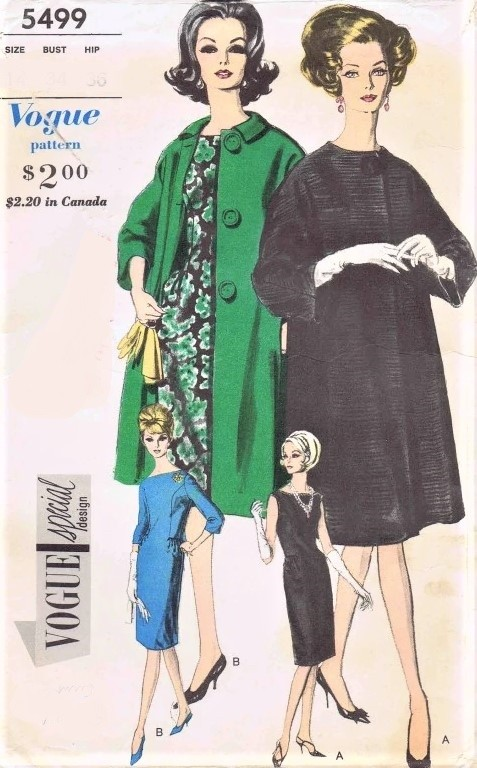 1960s CLASSY Slim Dress and Elegant Coat Pattern VOGUE Special Design 5499 The Crown Princess Margaret Era Bust 32 Vintage Sewing Pattern FACTORY FOLDED