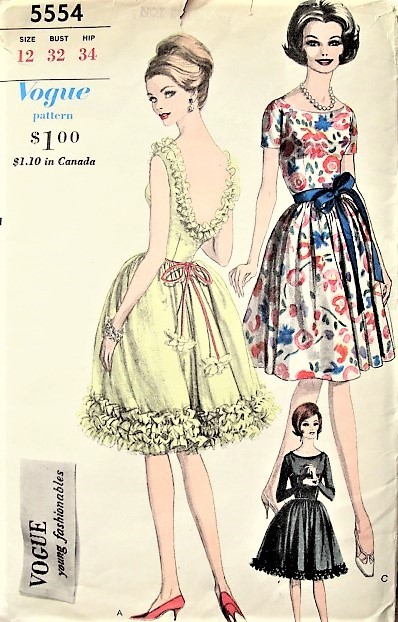 1960s FLIRTY Cocktail Evening Party Dress Pattern VOGUE Young Fashionables 5554 Low Back, Full Skirt Dress 3 Versions Bust 32 Vintage Sewing Pattern