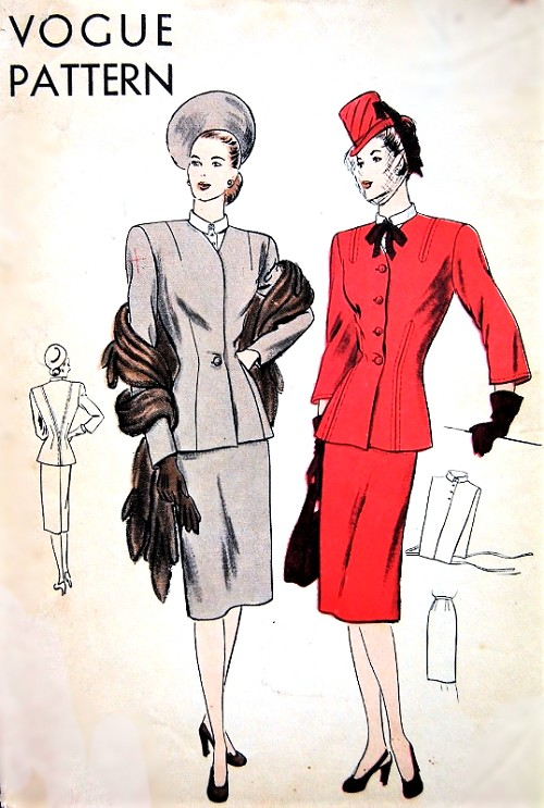1940s CHIC Slim Skirt Suit and Dickey Pattern VOGUE 5655 Elegant Fitted Longer Length Jacket Two Styles Bust 30 Vintage Sewing Pattern