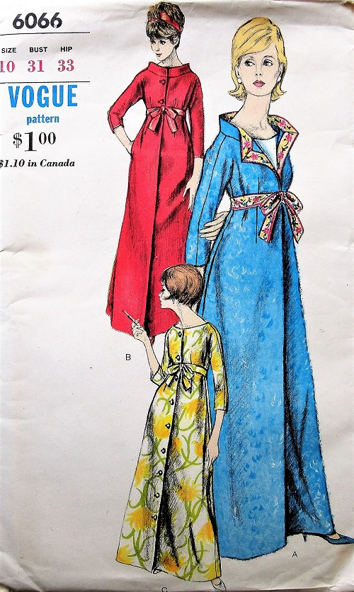 1960s GLAMOROUS  Robe,Lounging Robe Hostess Gown Pattern VOGUE 6066 Empire Style Beautiful Brunch Coat Robe,Evening Coat Bust 31 Vintage Sewing Pattern