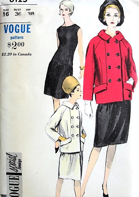 1960s FAB Dress and Coat Pattern VOGUE Special Design 6125 Day or Cocktail Evening Drop Waist Dress, Stylish Double Breasted Coat Jacket Bust 36 Vintage Sewing Pattern FACTORY FOLDED