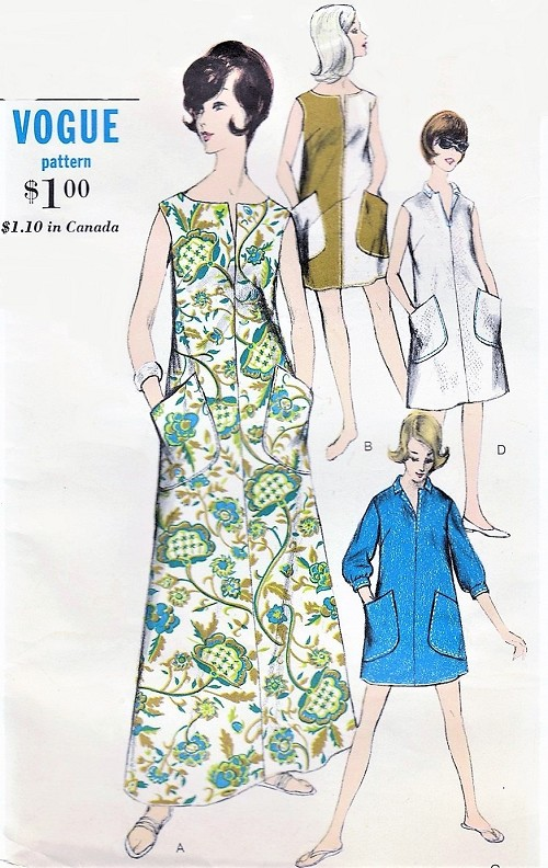 1960s Beach Patio Casual Dress Pattern VOGUE 6180 Lounging Gown, Mini  or Regular Dress Bust 32 Vintage Sewing Pattern FACTORY FOLDED