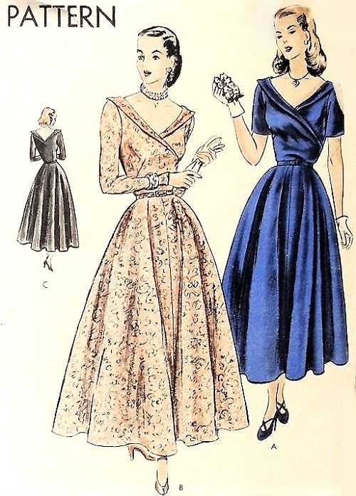 1940s BEAUTIFUL Surplice Bodice Evening Party Cocktail Dress Pattern VOGUE 6211 Figure Flattering Full Skirt Bust 30 Vintage Sewing Pattern