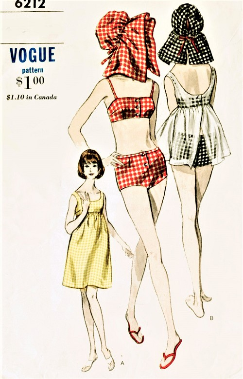 1960s FABULOUS Beachwear Pattern VOGUE 6212 Two Pc Bathing Suit, Sun Hat, Beach Dress  or Beach Cover Up Bust 32 Vintage Sewing Pattern