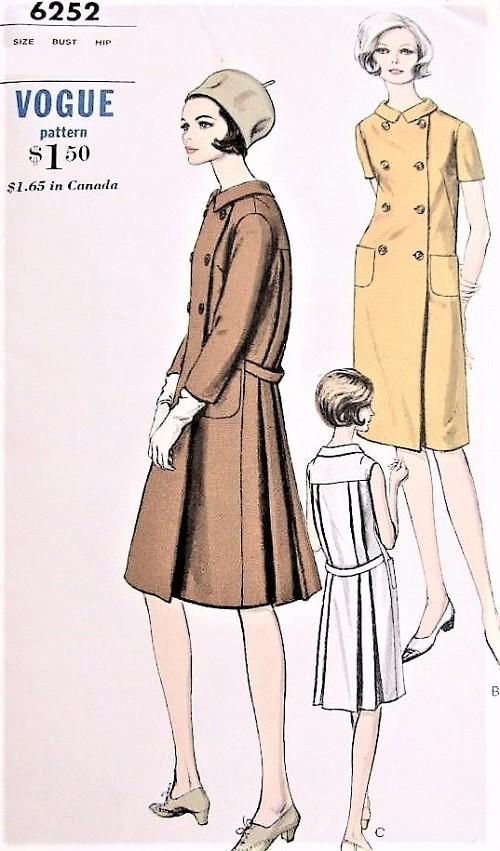 dfa41b1eb5 1960s STYLISH Coat Dress Pattern VOGUE 6252 Double Breasted ...