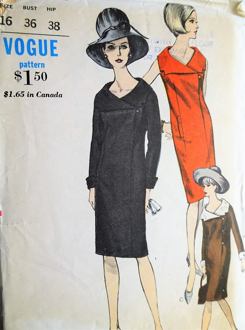 1960s Vintage GORGEOUS Dress In Two Styles Long Sleeves or Sleeveless Vogue 6327 Sewing Pattern Bust 36
