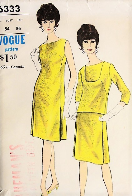 1960s MOD Shift Dress and Overblouse Pattern VOGUE 6333 Easy Day to Evening Dress Vintage Sewing Pattern Bust 34