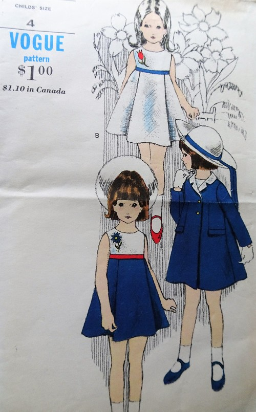 1960s BEAUTIFUL Little Girls Dress and Coat Pattern VOGUE 6379 Sweet Styles Toddlers Size 4 Vintage Childrens Sewing Pattern
