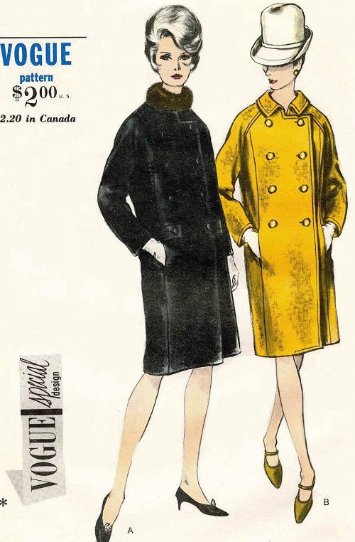 1960s STYLISH Coat Pattern VOGUE Special Design 6584 Slim Double Breasted Coat, Standaway Rolled Collar or Collarless Bust 32 Vintage Sewing Pattern