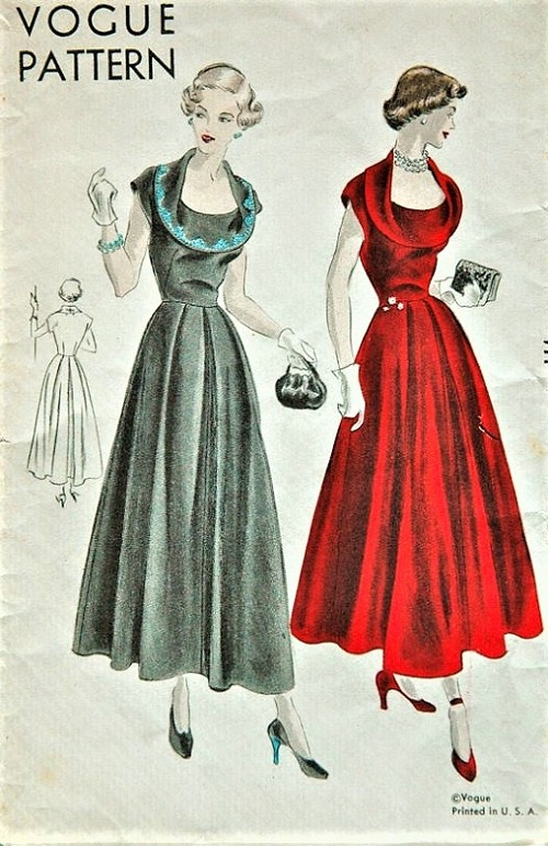 1940s Beautiful Evening Party Dress Pattern Vogue 6639