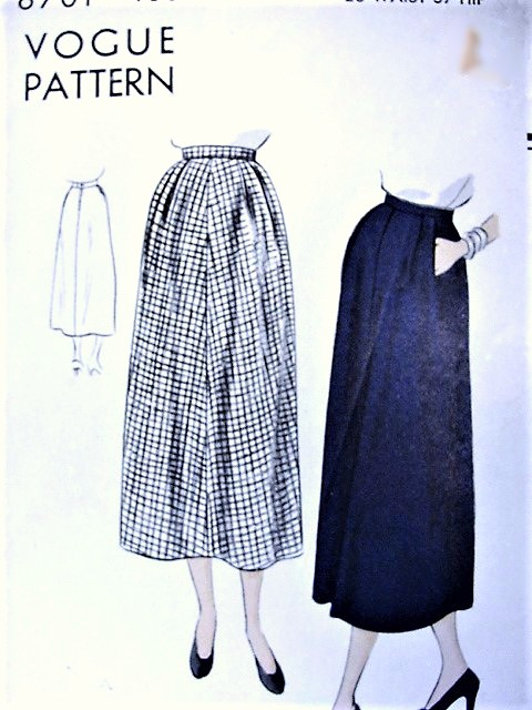 1940s EASY To Sew Flared Skirt Pattern VOGUE 6701 Waist 28 Vintage ...