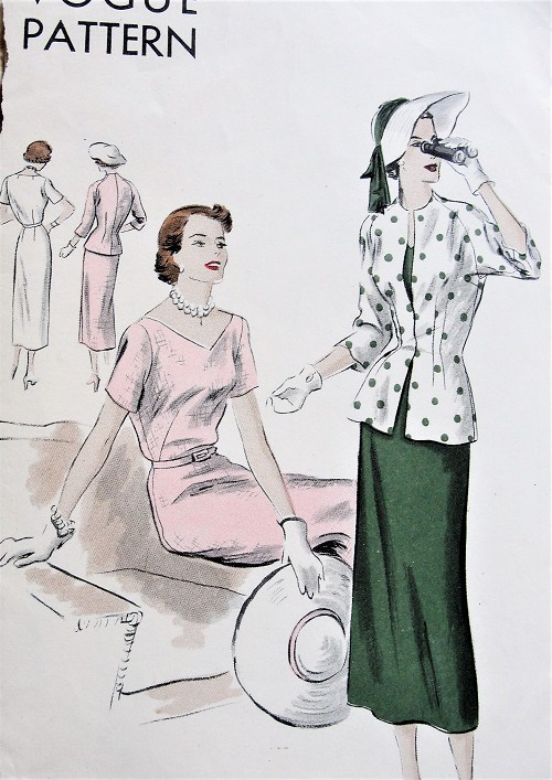 1940s Vintage CLASSIC V-Neck Belted Dress with Fitted Jacket Vogue 6717 Sewing Pattern Bust 36