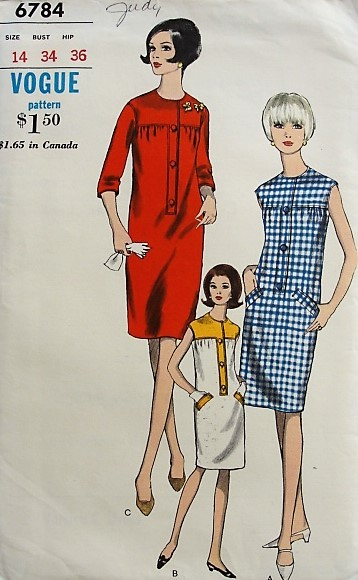 1960s CHIC Shift Dress with Pockets Vogue 6784 Bust 34 Vintage ...