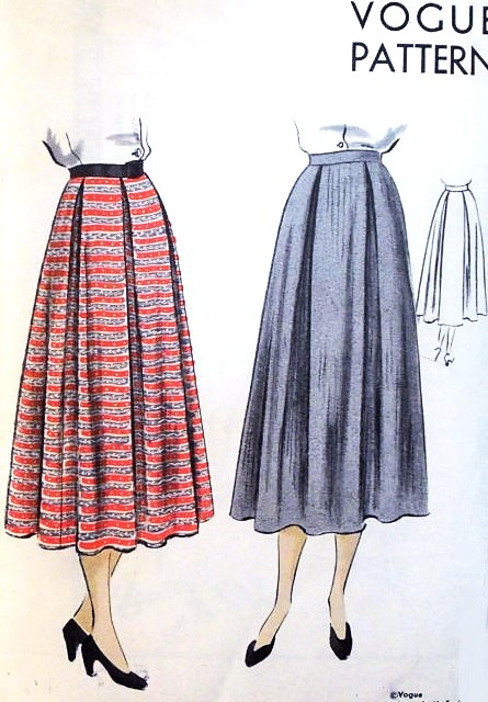 1940s Lovely BOX PLEATED Skirt Pattern VOGUE 6860 Figure Flattering ...