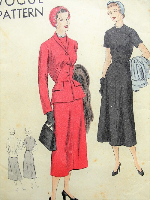 1940s STYLISH Dress and Jacket Pattern VOGUE 6893 Day or Dinner Dress and Fitted Peplum Jacket Bust 32 Vintage Sewing Pattern
