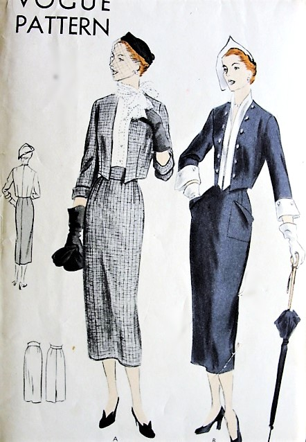 1950s STUNNING Slim Skirt Suit Pattern VOGUE 6976 Bolero Jacket  and Skirt in 2 Versions, Total Elegance, Bust 32 Vintage Sewing Pattern FACTORY FOLDED