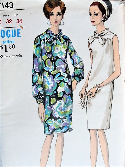 1960s Vintage STYLISH Slim Dress with High Neckline Vogue 7143 Sewing Pattern Bust 32
