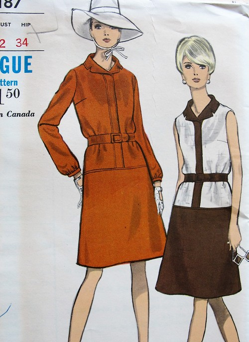 1960s MOD Dress Pattern VOGUE 7187 Classy Drop Waist  A Line Dress With Contrast Seam Version Bust 32 Vintage Sewing Pattern FACTORY FOLDED
