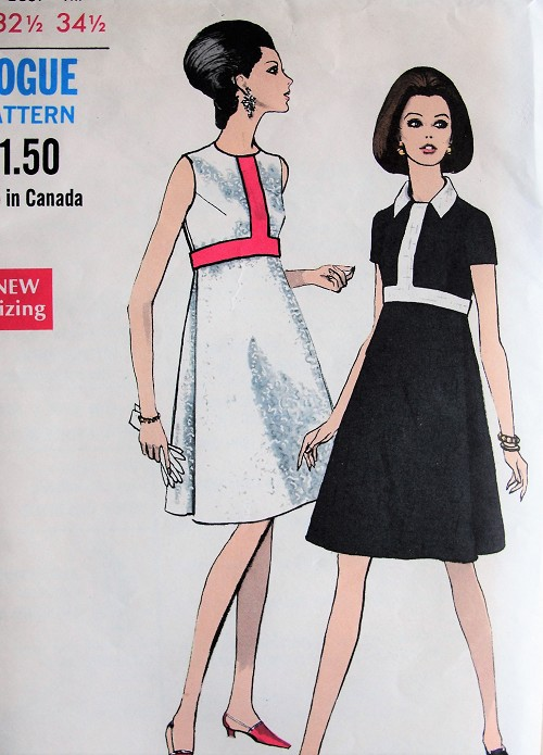 1960s Vintage MOD Dress with Contrasting Details Vogue 7298 Sewing Pattern Bust 32 1/2