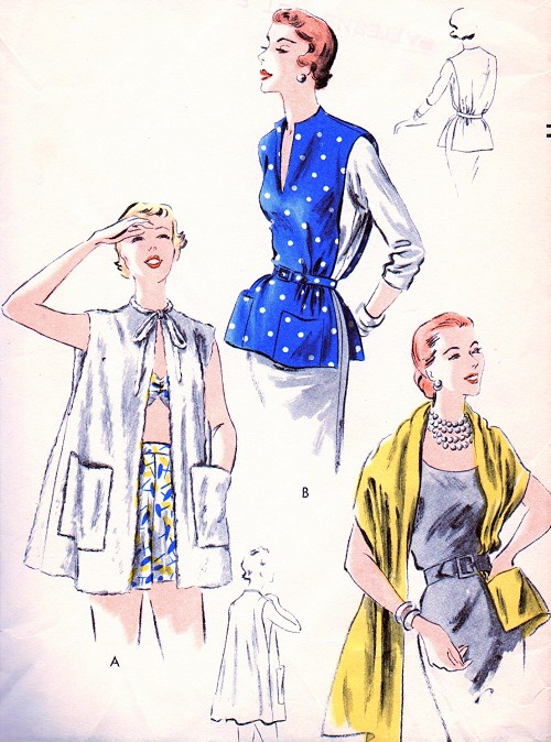 1950s STYLISH  Separates Pattern VOGUE Easy To Make Loose Beach Coat Cover Up, Elegant Stole With Pocket, Ponch With Pockets One Size Vintage Sewing Pattern