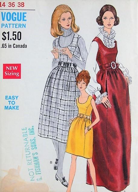 1960s RETRO Mod Dress or Jumper in Three Styles Vogue 7408 Vintage ...