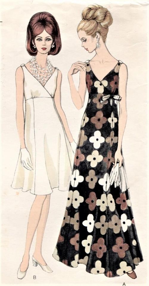 7bd9a74d436 1960s ELEGANT Evening Gown Cocktail Party Dress Pattern VOGUE 7477 Figure  Flattering Surplice Bodice Low V ...