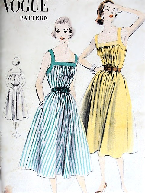 1950s CUTE Summer Dress Pattern VOGUE 7556 Low Square Neckline, Very Easy To Sew, Bust 32-34 Medium Size Vintage Sewing Pattern