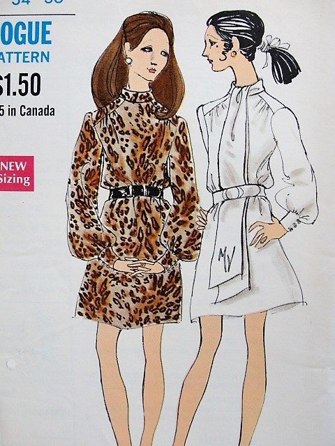 1960s Retro MOD Dress with Scarf and Belt Vogue 7619 Bust 34 Sewing Pattern Vintage Fashion