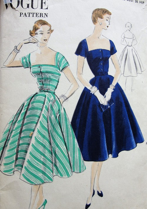 1950s DRAMATIC Low Square Neckline Party Dress Pattern VOGUE 7696 Lovely Full Skirt Cocktail Evening Dress Bust 32 Vintage Sewing Pattern