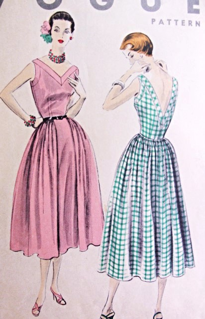 1950s BEAUTIFUL Dress Pattern VOGUE 8010 Summer or Cocktail Party Dress V Necklines Full Skirt Bust 30 Vintage Sewing Pattern FACTORY FOLDED