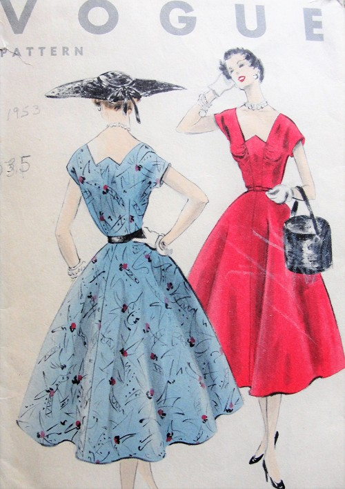 1950s Vintage CHIC Dress with Stylish Neckline and Full Skirt Vogue 8026 Sewing Pattern Bust 35