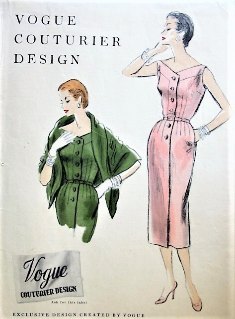 1950s CHIC Slim Dress and Shaped Stole Pattern VOGUE COUTURIER Design 804 Day or Special Occasion Cocktail Party Evening Bust 34 Vintage Sewing Pattern