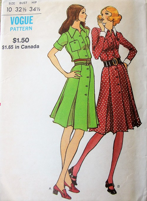 FABULOUS 70s Front Button Dress Pattern VOGUE 8198 Retro Shirtdress In 2 Versions Bust 32 Vintage Sewing Patterns
