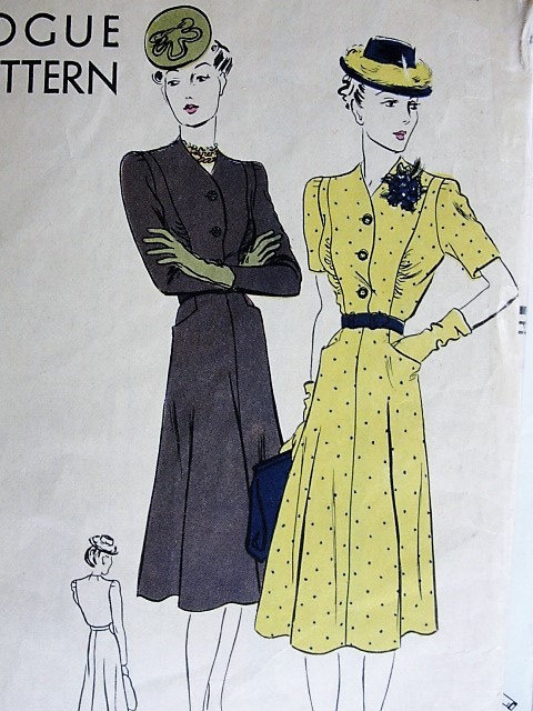 1930s LOVELY Dress Pattern VOGUE 8346 Front Button Bodice Pretty Design Bust 32 Vintage Sewing Pattern