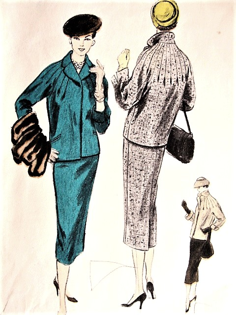 1950s ELEGANT Suit Pattern VOGUE 8486 Eye Catching Jack With RADIATING Tucks, Slim Pencil Skirt Bust 30 Vintage Sewing Pattern