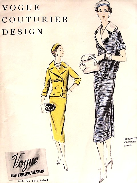 1950s CHIC Two Pc Suit Dress Pattern VOGUE COUTURIER Design 854 Slim  Wrapped Back Skirt, Double Breasted Blouse With Detachable Collar Bust 32 Vintage Sewing Pattern FF