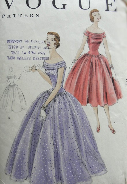 1950s Vintage LOVELY Off the Shoulder Gown With Gathered Skirt Vogue Pattern 8602 Bust 36 Sewing Pattern