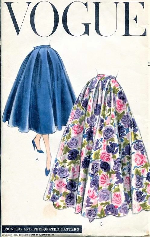 1950s BEAUTIFUL Full Skirt Pattern VOGUE 8905 Day or Evening  8 Gored Flared Skirt Waist Size 28 Vintage Sewing Pattern